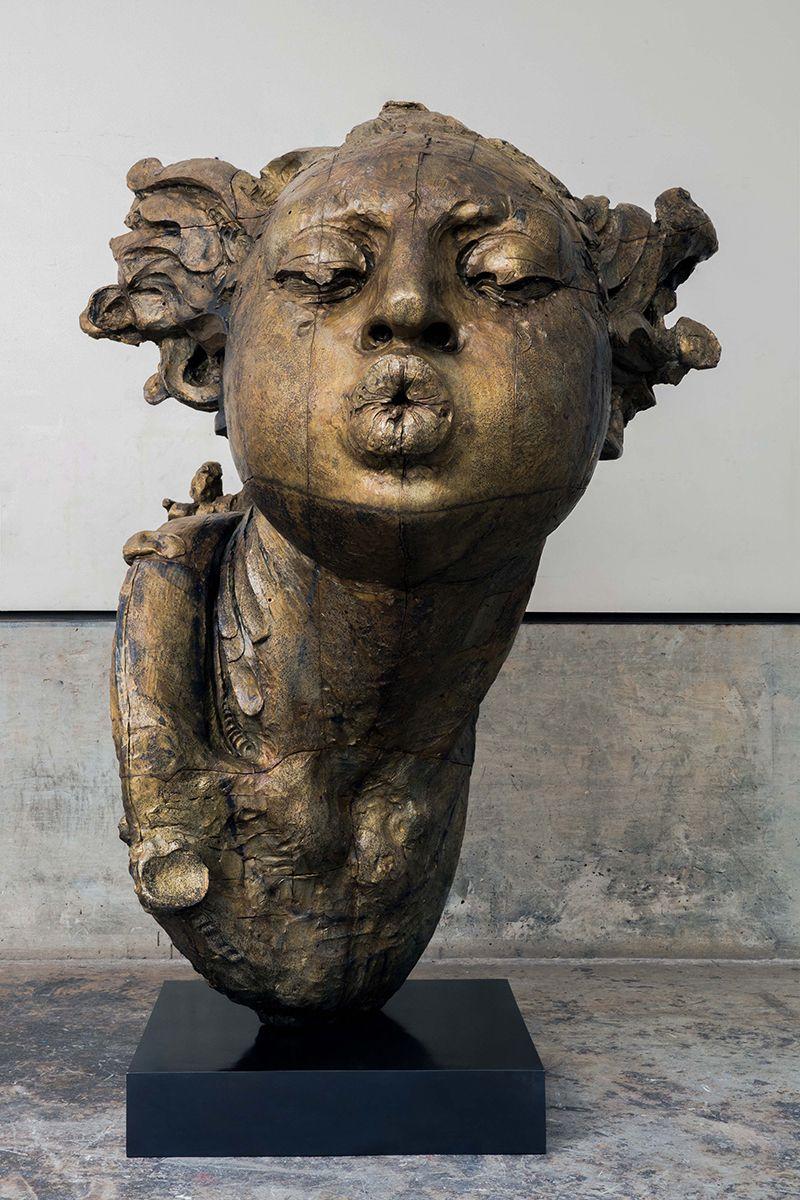 Javier Marín. Cabeza de mujer sopladora II, 2017. Bronce a la cera perdida. 185.5x152.5x136 cm.