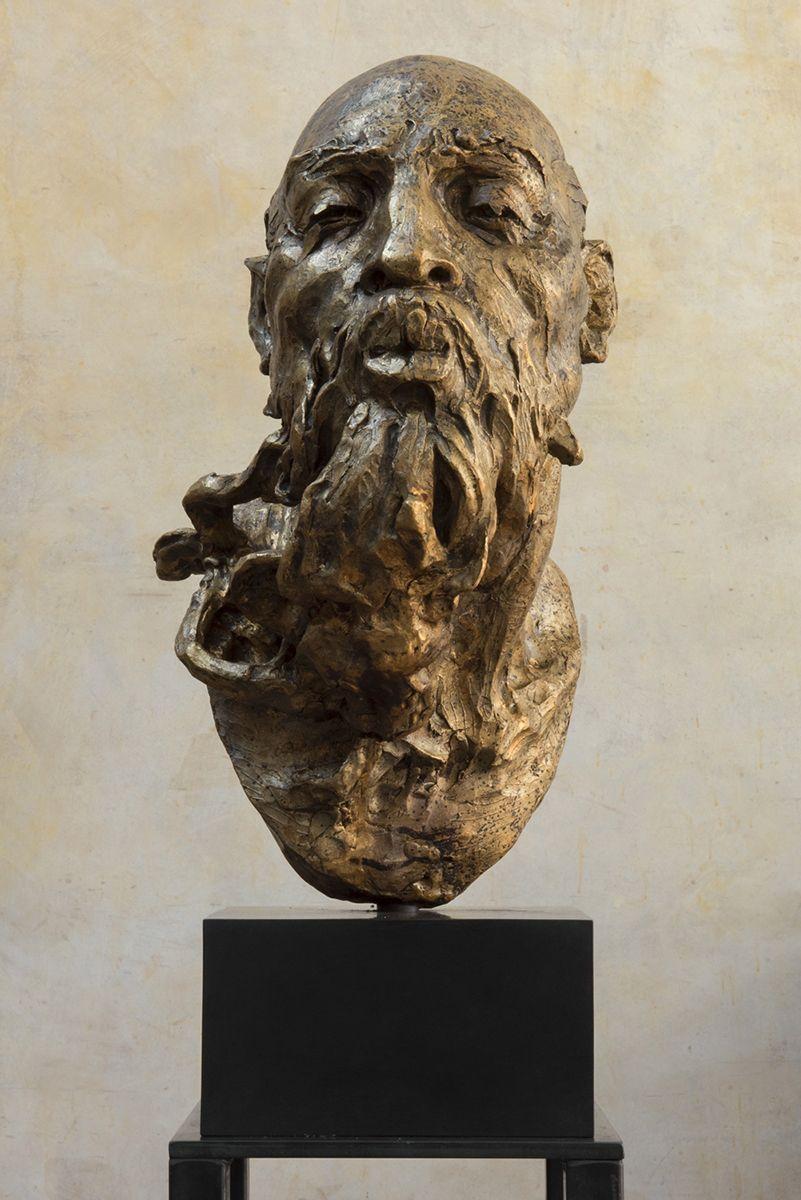 Javier Marín. Maqueta cabeza de hombre soplador III, 2017. Bronce a la cera perdida. 50x26x37 cm.