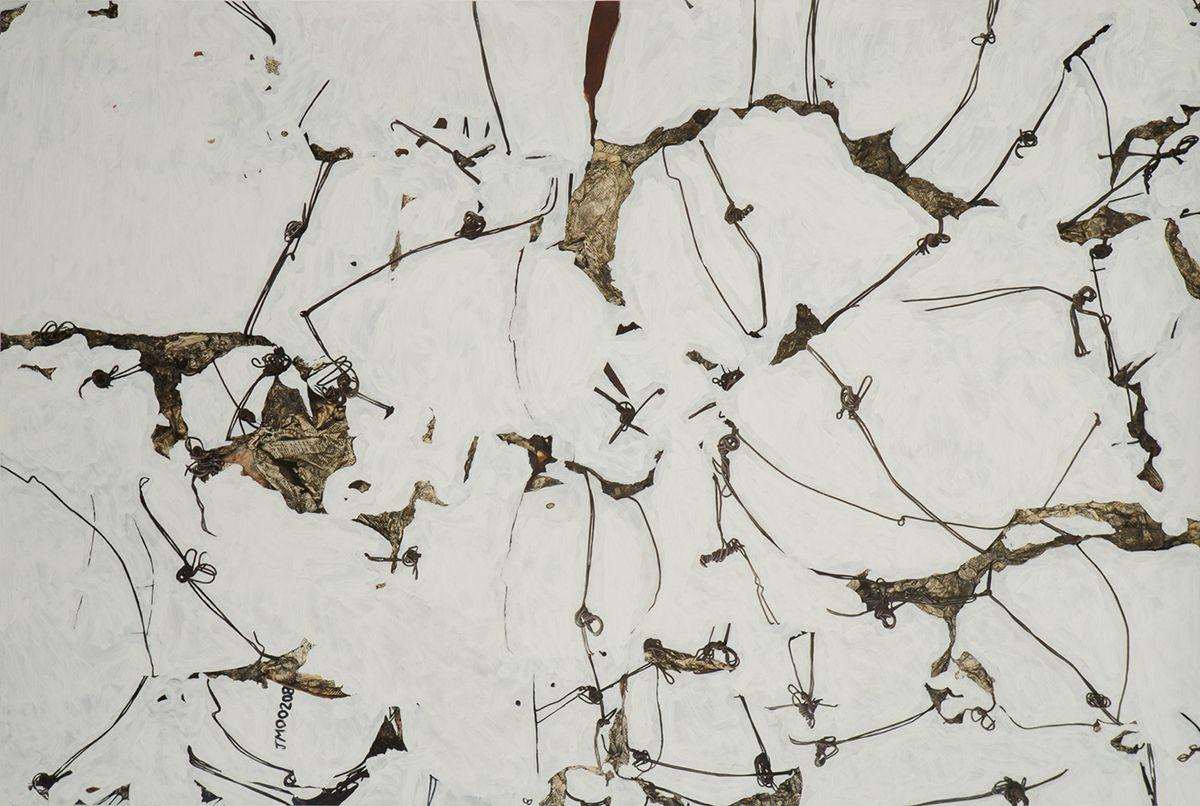 Javier Marín. Nudos III, 2015. Impresión digital sobre papel de algodón y óleo. 225x151x6 cm.