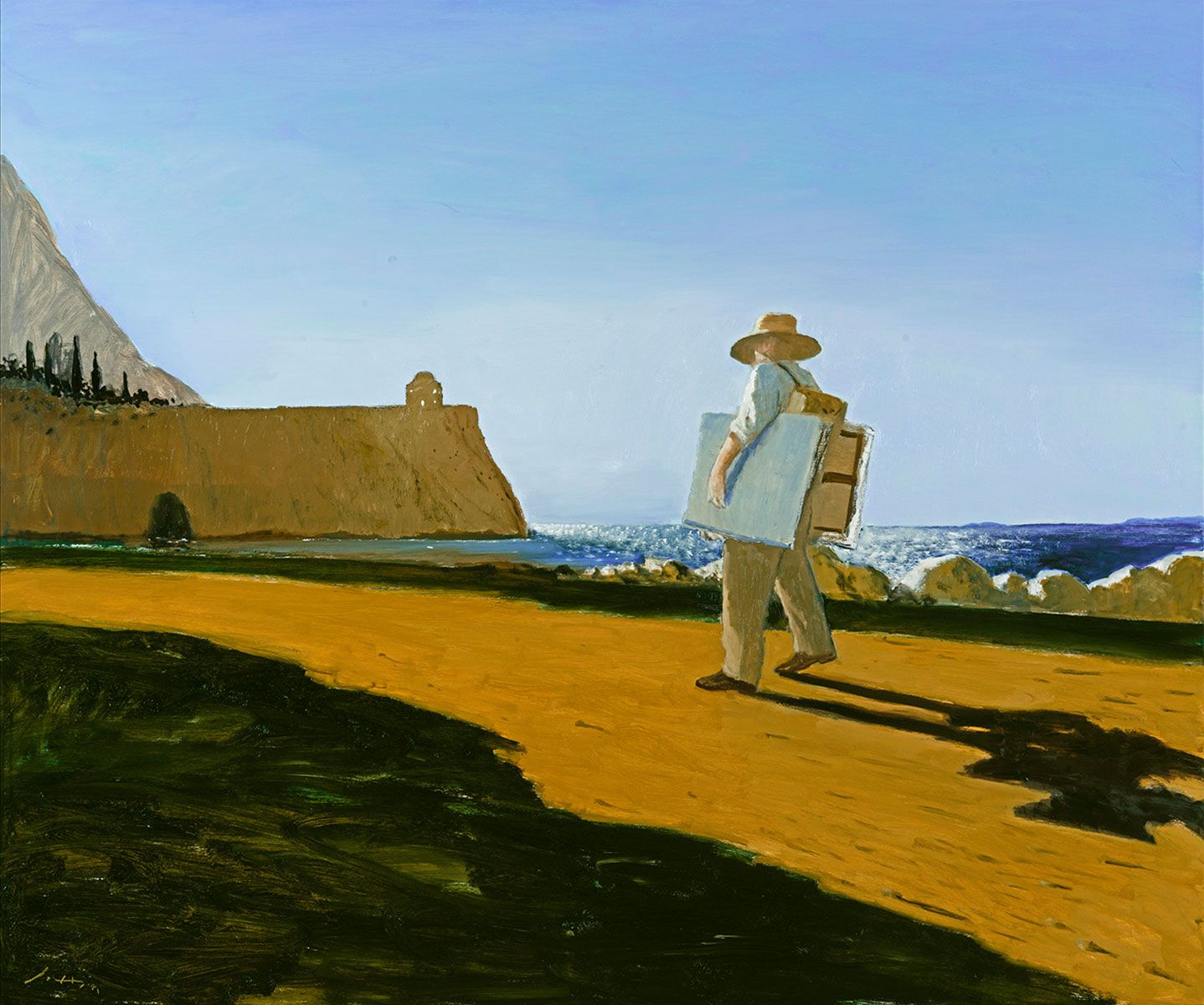 Larraz-The-Painter-on-the-road-to-Punta-Agravox,2020,Oil-on-Canvas,60x72in_Hi_res