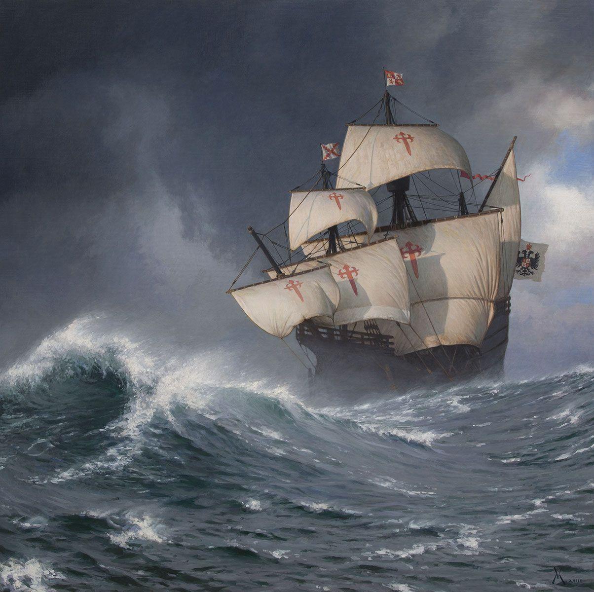 Nao Victoria in the South Seas-Guillermo Munoz