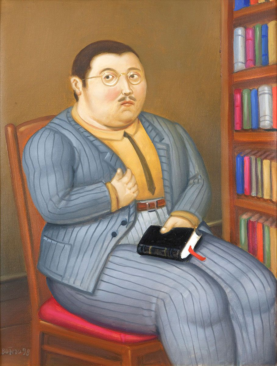 BOTERO,-Man-with-Book,-1998,-oil-on-canvas,-21-x-16-in,-NON-51-446